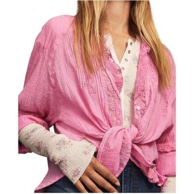 フリーピープル Free People レディース ブラウス・シャツ トップス Clemence Button-Down Lace-Trimmed Blouse Pink