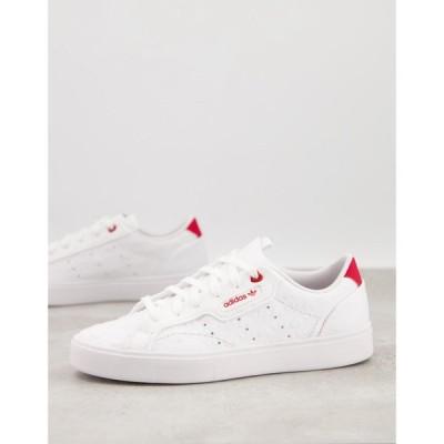 アディダス adidas Originals レディース スニーカー シューズ・靴 Adidas Originals Valentines Sleek Trainers In White With Heart Print ホワイト