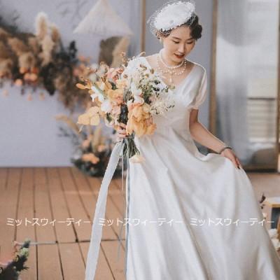 ウェディングドレス aラインドレス ウエディングドレス 二次会 花嫁 パーティードレス 披露宴 ブライダル 結婚式 ロングドレス 演奏会 白 フォトウェディング