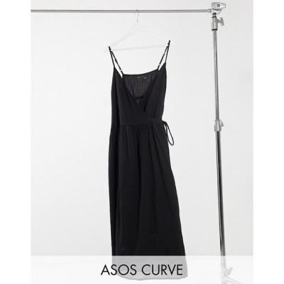 エイソス レディース ワンピース トップス ASOS DESIGN Curve tie wrap around crinkle maxi dress in black