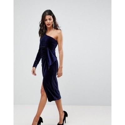 ラビッシュアリス レディース ワンピース トップス Lavish Alice One Shoulder Midi Dress With Twist Detail In Velvet Berry