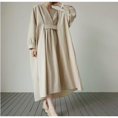 新品 大人気 高品質 レディース ワンピース ロング丈 長袖tシャツ 韓国ファッション 大きいサイズ Uネック スカート 無地 シンプル 体型カバー エレガント ゆったり