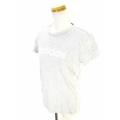 【中古】アディダス adidas Tシャツ カットソー 半袖 クルーネック 3ストライプス ロゴ  M 国内正規 レディース