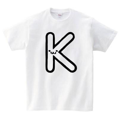 K ケー アルファベット 記号 文字 筆絵 イラスト 半袖Tシャツ