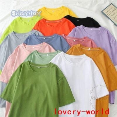 Tシャツ無地レディース半袖TシャツサマーTシャツクルーネック無地Tシャツカットソー夏Tシャツカジュアルカラバリ