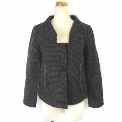【中古】クロエ CHLOE コート ウールジャケット ショート丈 アルパカ ビニール グレー 36 IBS88 レディース