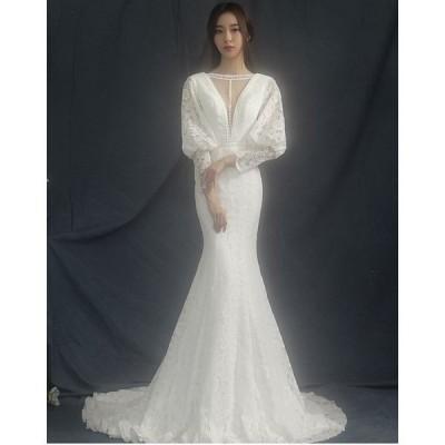ドレス  上品 優雅 マーメイド レース 手作り ロングドレス 長袖 ウェディングドレス 20代