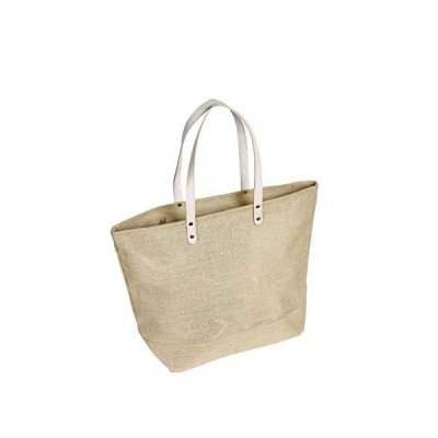 """Pack of 25- Large Jute Tote bag with Leather Handles Size 19""""W x 14""""H x 6""""Gusset in Natural color 並行輸入品"""