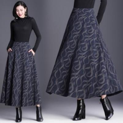 スカート 秋冬 40代 ロングスカート ミモレ丈 チェック柄 大きいサイズ ラシャスカート Aラインスカート レディース ボトムス 通勤