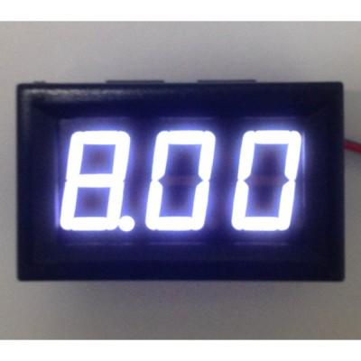 パネル取り付け枠付きデジタル電圧計 白 4.5〜30V 【簡単2線式】
