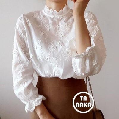 ブラウス レディース 長袖 春秋 フォーマル オフィス おしゃれ 40代 トップス 長袖シャツ 白 刺繍 立ち襟 きれいめ 大きいサイズ 通勤 上品 着痩せ 韓国風 新品