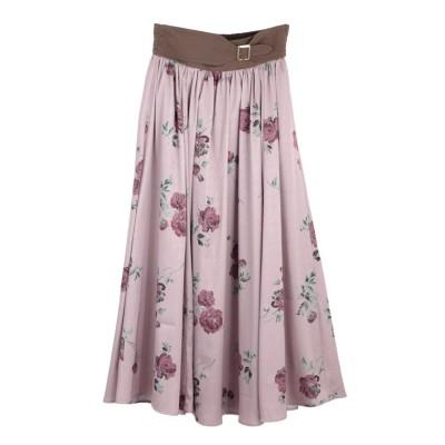 (axes femme/アクシーズファム)ローズ柄ロングスカート/レディース 淡ピンク