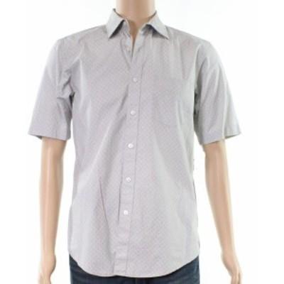 ファッション アウター Club Room NEW Gray White Mens Size 2XL Crab-Printed Button Down Shirt