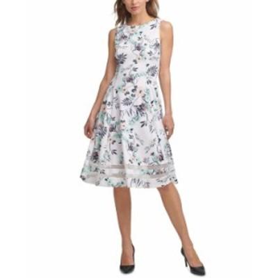カルバンクライン レディース ワンピース トップス Floral Midi Dress White Multi