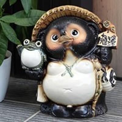 たぬき 置物 名入れ 9号福蛙持ち開運狸 縁起物 信楽焼 おしゃれ 和風 陶器 【手作り】