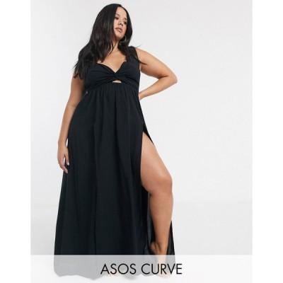 エイソス ドレス 大きいサイズ レディース ASOS DESIGN CURVE tie back beach maxi dress with twist front detail in black エイソス ASOS ブラック 黒