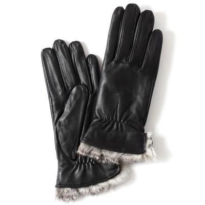 手袋 レディース スマホ対応 本革 レザー ラビットファー付き ブラック 黒 黒色 暖かい シンプル 女性