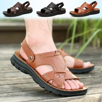 サンダル メンズ レザーサンダル 靴 ビーチサンダル 2WAYS ビーサン カジュアルシューズ アウトドア