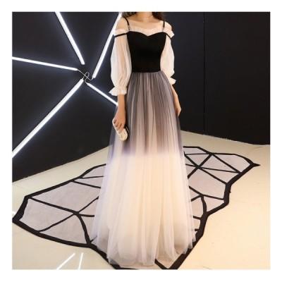 ロングドレス ランタンスリーブ ドレス レディース サマードレス グラデーションカラー 夏服 イブニングドレス シースルー スイートハートネック