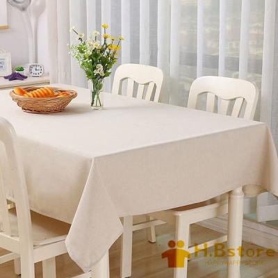 テーブルクロス リネン 綿麻 無地 食卓カバー シンプル 北欧 撥水加工 長方形 テーブルカバー 防塵 耐熱 家庭用 喫茶店用