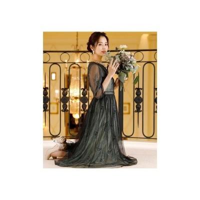 プールヴー PourVous レース&ブラックチュールドレス ロングスカート/結婚式ワンピース お呼ばれ・二次会・セレモニー大きいサイズ対応フォーマル