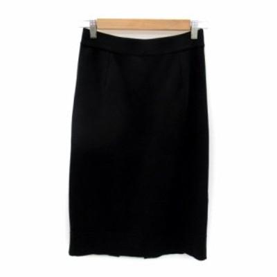 【中古】デミルクス ビームス Demi-Luxe BEAMS スカート ニット タイト ミモレ丈 無地 スリット 36 黒 レディース