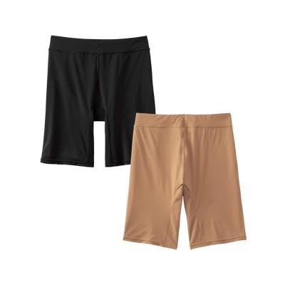静電防止加工 もたつかない滑りが良い股ずれ防止3分丈ショーツ2枚組(L) 3分丈・ロング丈ショーツ, Panties