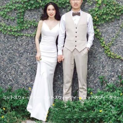 ウエディングドレス 二次会 花嫁 ソフトマーメイドドレス 前撮り ウェディングドレス ロングドレス 結婚式 キャミソール シンプル リゾートドレス ワンピース