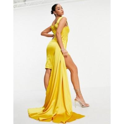 ヤウラ Yaura レディース ワンピース ミニ丈 ワンピース・ドレス Sweetheart Satin Ruched Mini Dress With Side Drape In Yellow