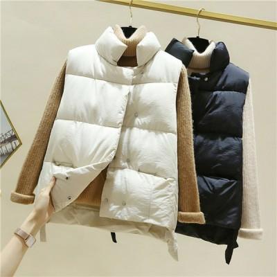 中綿ベスト レディース ベスト アウター ダウン風ベスト ジレ 秋 冬 中綿 あったか 防寒 防寒着 トップス 前開き 大きいサイズ カジュアル 羽織り きれいめ