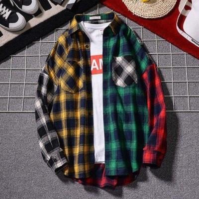 チェックシャツ メンズ 長袖 カジュアル レギュラーカラー チェック柄 新作 オシャレ 大きいサイズ 切替 レギュラーカラー ギンガムチェック シャツ