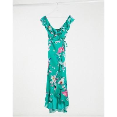 リプシー レディース ワンピース トップス Lipsy satin ruffle frill wrap maxi dress in green floral Green multi