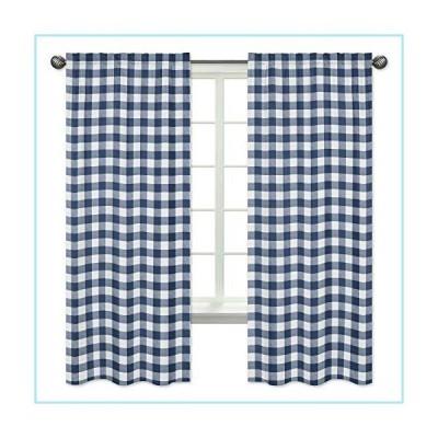 新品Sweet Jojo Designs Navy Buffalo Plaid Check Window Treatment Panels Curtains - Set of 2 - Blue and White Woodland Rustic Country Farmh