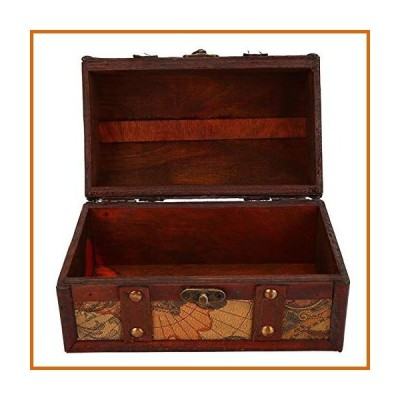 木製ボックス Cerlingwee Flexibly Treasure Chest Shockproof Neat Sewing Process Vintage Wood Box, for Home Decor Gifts Jewelry Case Wom