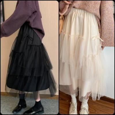 フェミニン系 ロングスカート チュールスカート  ミモレ丈 透け感 Aライン・フレア 無地 ゆったり 春 お出かけ