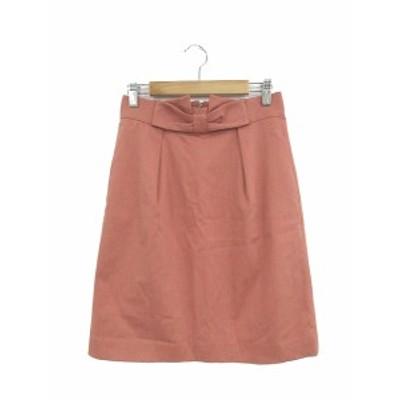【中古】ユニバーバル ミューズ UNIVERVAL MUSE スカート ひざ丈 台形 ジップフライ ピンク /AY7 レディース