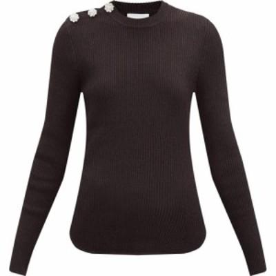 ガニー Ganni レディース ニット・セーター トップス Crystal-buttoned ribbed sweater Brown