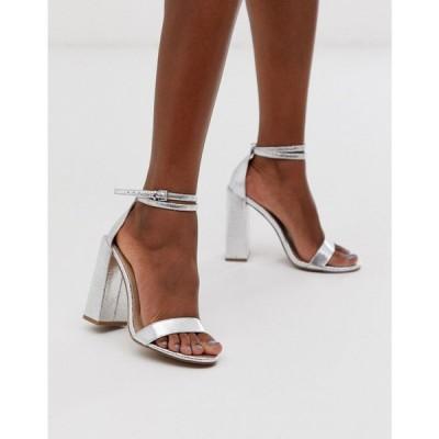 エイソス ASOS DESIGN レディース サンダル・ミュール シューズ・靴 Highlight barely there heeled sandals in silver シルバー