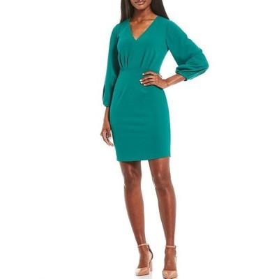 ドナモーガン レディース ワンピース トップス 3/4 Blouson Sleeve V-Neck Crepe Sheath Dress