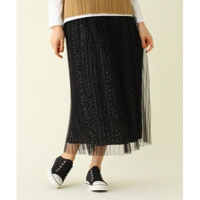 SHOO・LA・RUE/シューラルー 【S-L】プリーツチュール花柄スカート ブラック(719) 01(S)