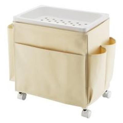 サイドテーブル キャスター 幅35×奥行23×高さ38cm バスケットタイプ ワゴン テーブル 布製 ホワイト ( 収納 キャスター付き 収納ワゴン サイドテーブルワゴン 布 ファブリック テーブルワゴン リビング収納 サイドワゴン 日本製 )