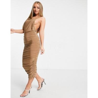 クラブエル ロンドン Club L London レディース ワンピース ミドル丈 ワンピース・ドレス Ruched Detail Midi Dress With Open Back In Camel キャメル