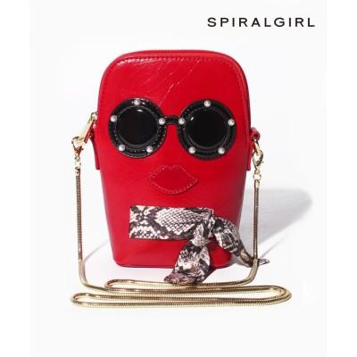 【スパイラルガール(バッグ)】 とぼけたフェイスが特徴のミニショルダー レディース レッド FREE SPIRALGIRL