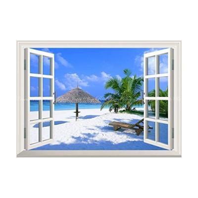 絵画風 壁紙ポスター (はがせるシール式) -窓の景色- ビーチ モルディブ 海 砂浜 海岸 楽園 パラダイス 窓仕様トリックアート キャラ