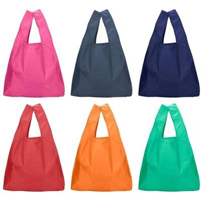 winkong 折り畳み防水エコバッグ 無地 6個セット 6柄 買い物バック 買い物袋