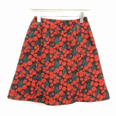 【中古】イエナ IENA 18AW スカート フレア ミニ CIBATTI ジャガード 花柄 フローラル 38 M 黒 緑 赤 /KH レディース