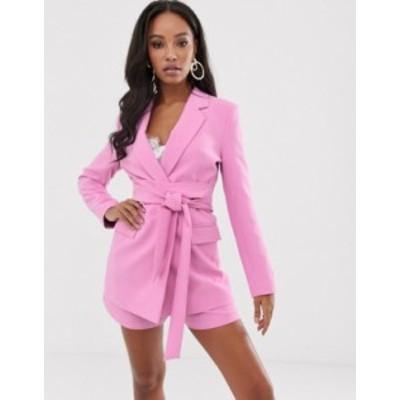 エイソス レディース ジャケット・ブルゾン アウター ASOS DESIGN wrap belted suit blazer in pink Pink