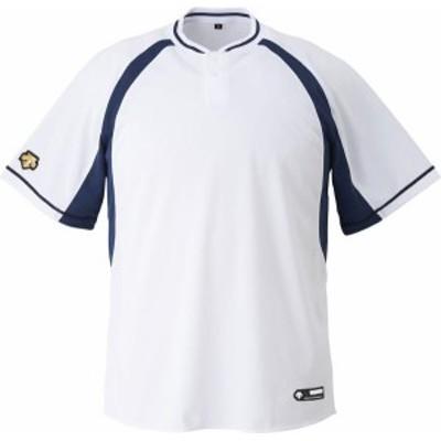 DESCENTE 野球 ソフトボール ジュニア 野球 2ボタンベースボールシャツ 19FW SWNV Tシャツ(jdb103b-swnv)
