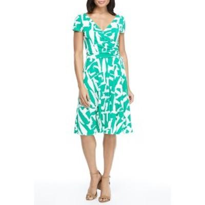 マギーロンドン レディース ワンピース トップス Geometric Print Surplice Neck Wrap Dress SOFT WHITE/GREEN