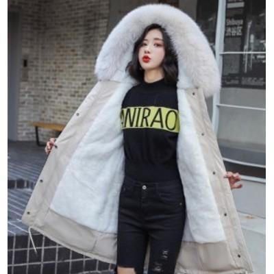 アウター レディース 中綿ジャケット 裏起毛 フェイクファー付き フード付き 防寒 暖かい冬 レディース アウター ファー付き ダウン風 フ